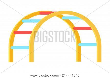 Minimalistic vector illustration depicting colorful curved ladder for children on playground, kind of walkthrough ladder isolated on white background