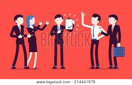 Excellent work award on red. Young man in the office given professional recognition by coworkers for good job, acknowledge of skills. Business style vector concept illustration