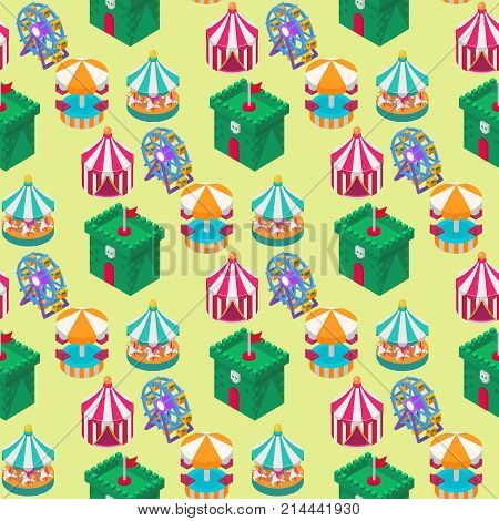 Circus isometric tent marquee marquee seamless pattern background with stripes and flags carnival entertainment amusement lelements flat vector. Carnival tents park arena celebration.