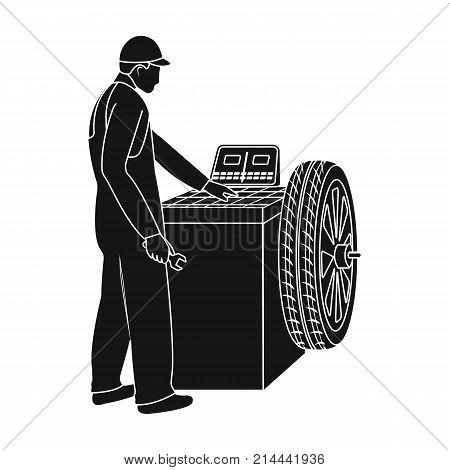 Wheel balancer single icon in black style for design.Car maintenance station vector symbol stock illustration .