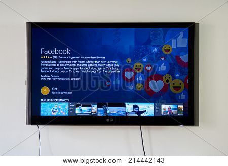 MONTREAL CANADA - NOVEMBER 15 2017: Facebook app and on LG TV. Facebook is an American for-profit corporation and an online social media and social networking service based in Menlo Park California