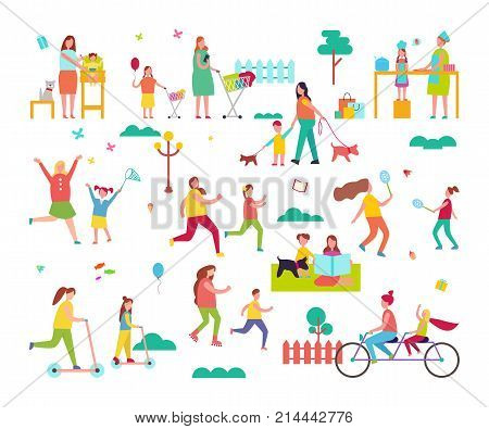 Moms spending time happily with small children by cooking or riding bike. Real love between mothers and their kids vector illustration
