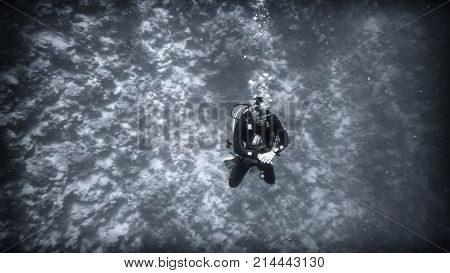 Above The Abyss, A Diver Under Water