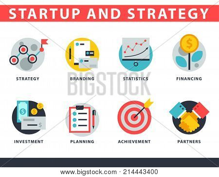 Startup and strategy web busines sblack and purple icon set suitable for info graphics websites ui management finance start up vector illustration. Marketing concept analysis process strategy.