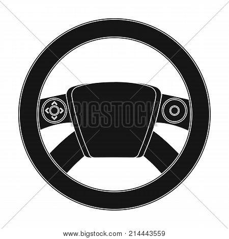 Steering wheel single icon in black style for design.Car maintenance station vector symbol stock illustration .