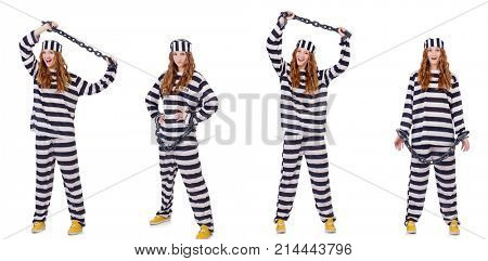 Woman prisoner isolated on white
