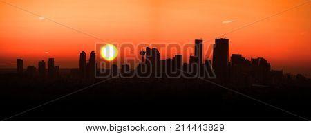 Calgary city under sun set