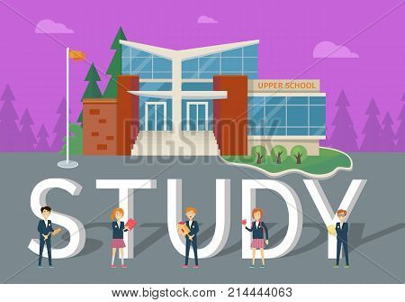 Study in upper school concept. Modern school building with happy pupils on school yard flat vector illustrations. Children s education. Learning favorite school subjects. For private school web page
