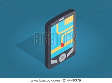 Gps navigator interface with city map and location on smartphone. Black phone with three buttons isolated on blue. Whereabouts marked with red dot. Vector illustration flat design cartoon style.
