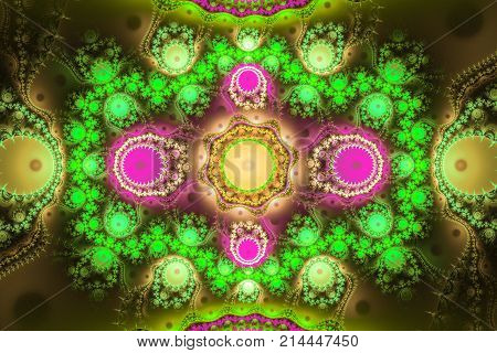 Geometric fractal shape can illustrate daydreaming imagination psychedelic space dreams magic nuclear explosion frequency patterns radiation or music concepts.