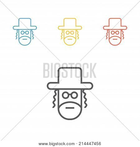 Orthodox jew line icon Vector signs for web graphics