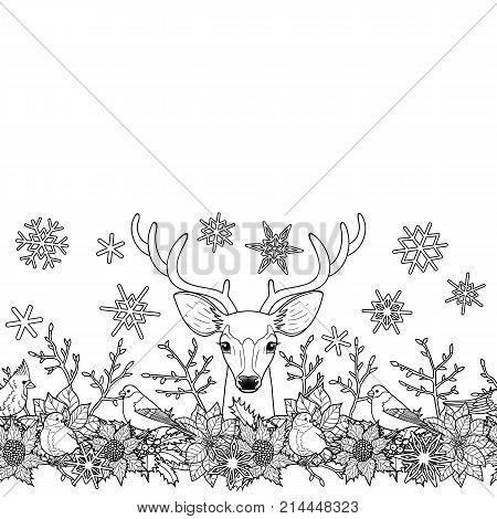 Deer And Birds Seamless Horizon Border Winter Square New Year Black White Wallpaper For