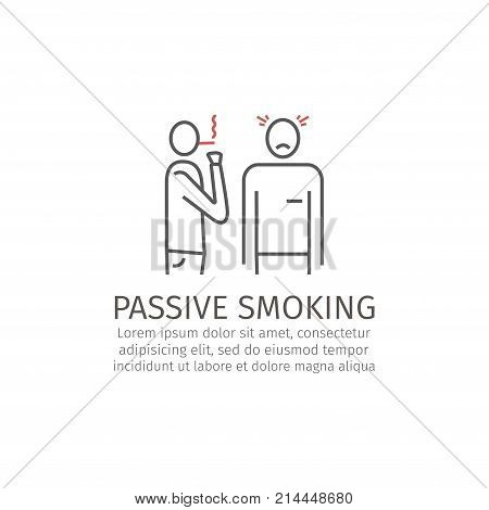 Passive smoking line icon Vector signs for web graphics