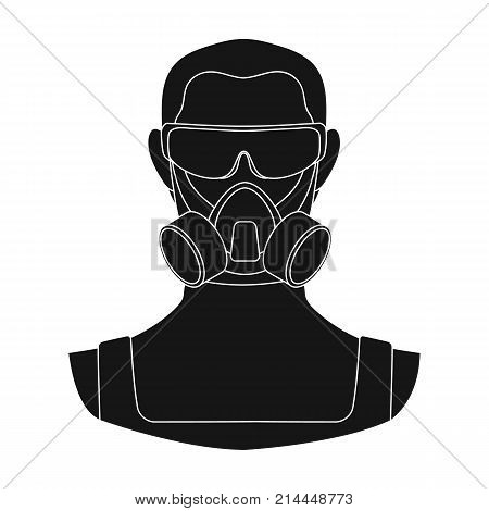 A man in a raspirator and glasses single icon in black style for design.Pest Control Service vector symbol stock illustration .