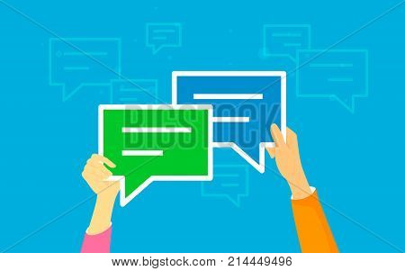 Speech bubbles for comment and reply concept vector illustration of young people texting and leaving comments in social networks. Flat human hands hold speech bubbles symbols on blue background