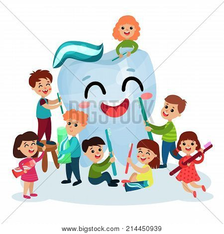 Cute little kids cleaning giant white smiing tooth using toothbrush, oral hygiene for children vector Illustrations on a white background