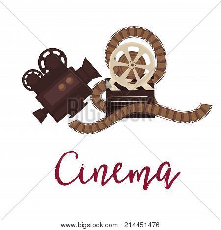 Cinema promotional poster with vintage equipment for shooting. Old-fashioned camera, big reel with film and wooden clapperboard isolated cartoon flat vector illustration on white background.