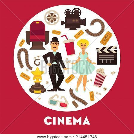 Cinema advertisement banner with famous actor and actress surrounded by symbolic cinematographic equipment, gold award and snack for seans inside circle isolated cartoon flat vector illustration.