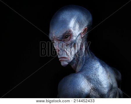 Portrait of an alien creature with its back turned against the camera 3D rendering. Black background.