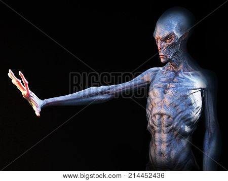 Alien creature holding its hand up in front of it 3D rendering. Black background.