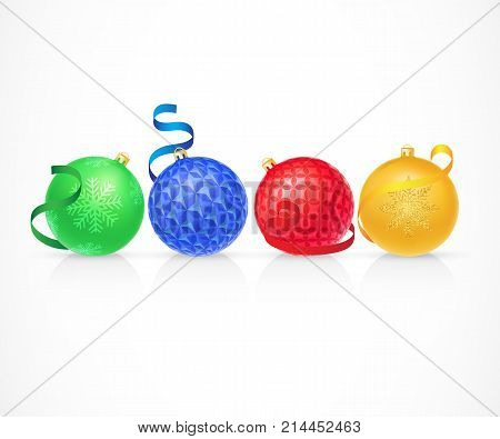 Illustration of four Christmas balls. Celebrating, bauble, decoration. Holiday concept. Can be used for topics like New Year, Christmas, holiday