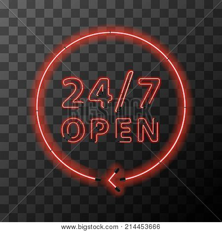 Bright red realistic neon around the clock sign24 hours 7 days open