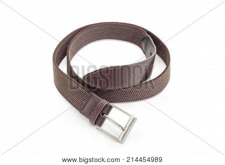 Casual brown elastic stretch belt for men with leather ends and classical buckle on a white background