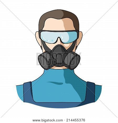 A man in a raspirator and glasses single icon in cartoon style for design.Pest Control Service vector symbol stock illustration .