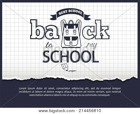 Back to my school black-and-white cartoon style sticker with inscription. Vector of backpack along with graphite pencil on checkered background