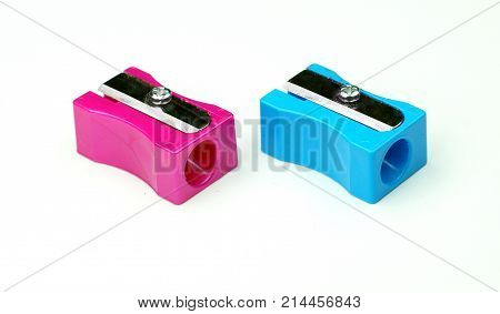 manual blue pencil sharpener isolated on the white background