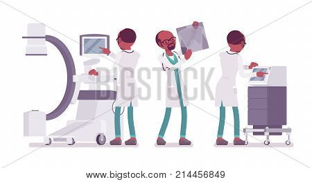 Black male doctor X-raying. Man in hospital uniform examining body organs by scanning at computer. Medicine and healthcare concept. Vector flat style cartoon illustration isolated on white background