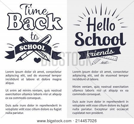 Hello back to school time black-and-white sticker with inscription. Vector illustration of crossed fountain pen and graphite pencil with text