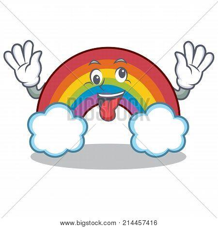 Crazy colorful rainbow character cartoon vector illustration
