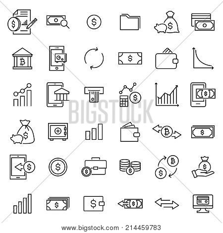 Set of investments thin line icons. High quality pictograms of money. Modern outline style icons collection.