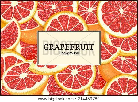 Rectangular label on citrus grapefruit background. Vector card illustration. Tropical juicy red pomelo frame peeled piece of half slice for design of food packaging juice breakfast, tea diet juce.
