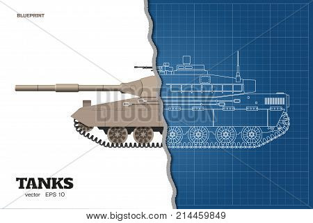 Blueprint of realistic tank. Top front and side view. Detailed armored car. Industrial drawing. War vehicle in outline style. Vector illustration
