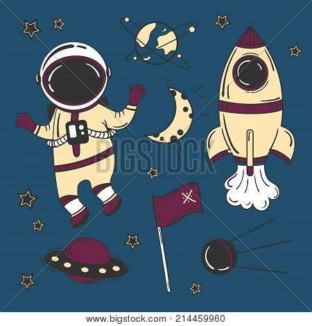 Astronaut cartoon space set. Rocket spaceship moon. Colour vector illustration