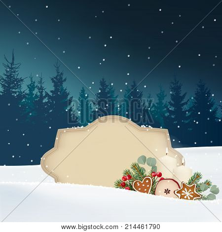 Vintage Christmas greeting card, invitation. Snowy winter landscape with forest, paper label for text, candles, spruce, eucalyptus tree branches, gingerbread cookies and red berries. Retro vector.