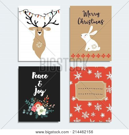 Set of hand drawn Christmas greeting cards, invitations with bunny, deer, snowflakes and winter flowers, isolated vector illustration objects.