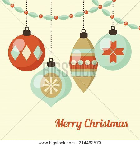 Retro Christmas card with hanging Christmas balls, ornaments. Vector illustration background. Flat design.