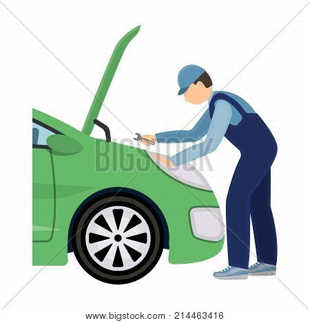 Auto mechanic and adjustment single icon in cartoon style for design.Car maintenance station vector symbol stock illustration .