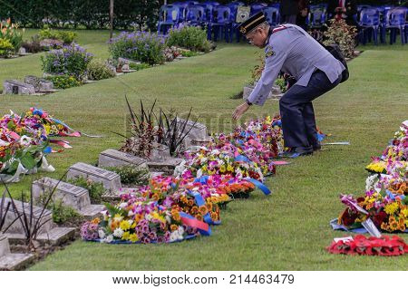 Labuan,Malaysia-Nov 12,2017:Malaysian's leader scout uniforms laying a wreath of flowers during the Remembrance Day at Labuan War Memorial park in Labuan,Malaysia.