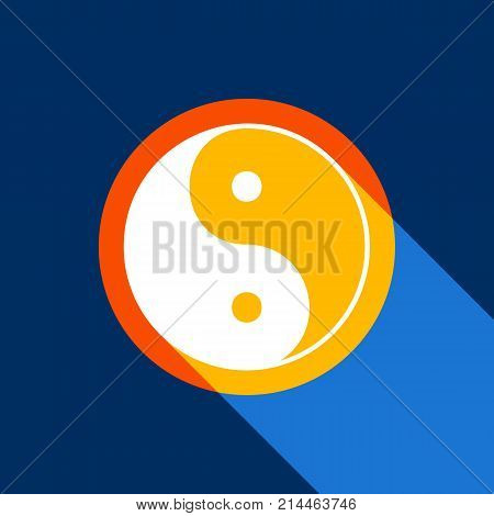 Ying yang symbol of harmony and balance. Vector. White icon on tangelo circle with infinite shadow of light at cool black background. Selective yellow and bright navy blue are produced.