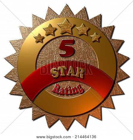 A 3D rendered golden metallic seal with 5 stars and text