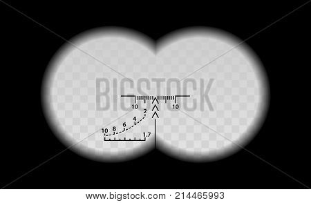 Binocular Scale Military Vector Illustration. View Through The Optical Sight Weapon. Circles Frame W