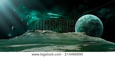 Space scene. Green nebula with planet spaceships and meteorits. Elements furnished by NASA. 3D rendering