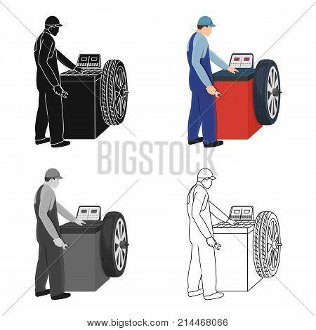 Wheel balancer single icon in cartoon, outline, black style for design.Car maintenance station vector symbol stock illustration .