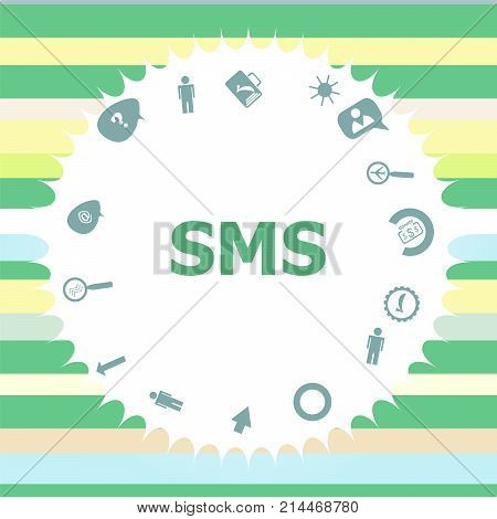 Text Sms. Web Design Concept . Infographics Icon Set. Icons Of Maths, Graphs, Mail And So On.
