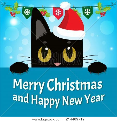 timid cat happy new year card with cat vector christmas kitty with red santa