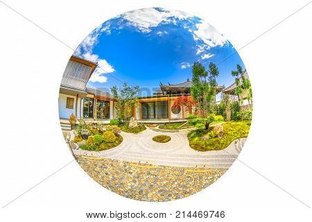 Kamakura, Japan - April 23, 2017: fish-eye view of zen garden in a sunny day inside Hase-Dera Shinto or Hase-kannon. Circle panorama of buddhist temple background. Concept of meditation and peace.